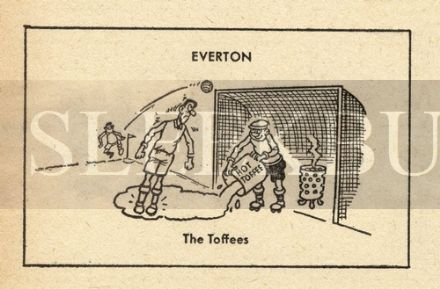 VINTAGE Football Print EVERTON - THE TOFFEES Funny Cartoon